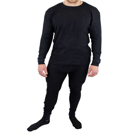 Mens Black Thermal Crew Neck Big & Tall Long Johns Underwear Set (Tall Thermal)