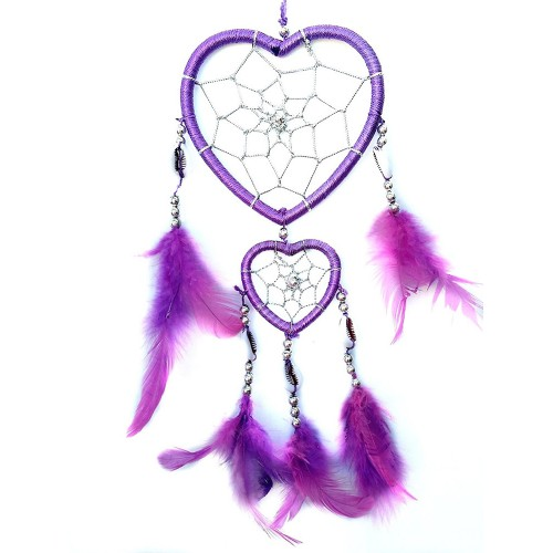 Purple Handmade Heart-shaped Dream Catcher car or Wall hanging decor