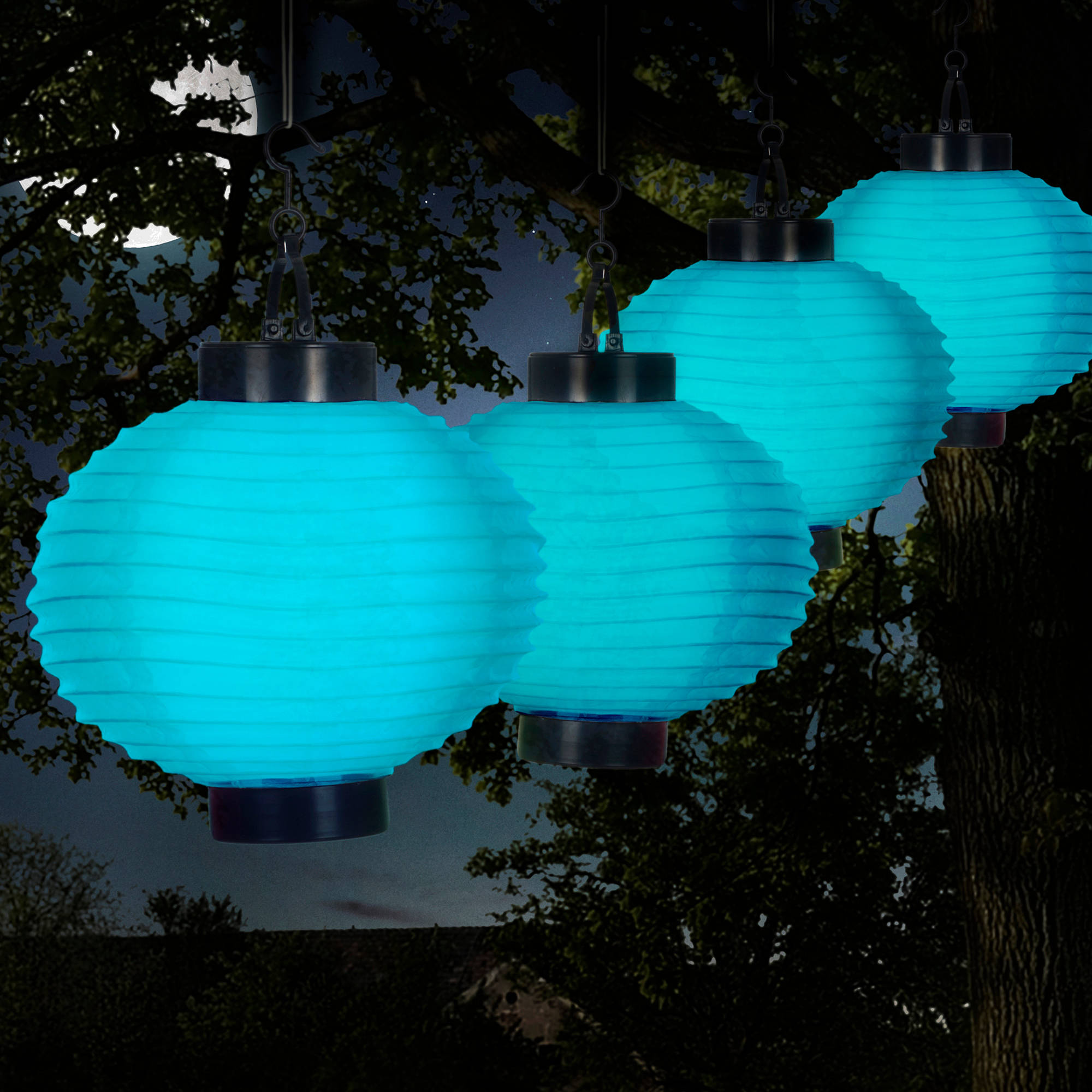 Pure Garden Outdoor Solar Chinese Lanterns, LED, Set of 4