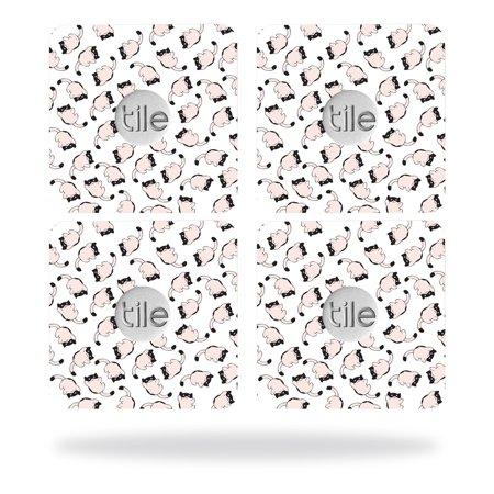 Skin Decal Wrap for Tile Slim Key Finder (4 pack) Raining Cats (Slim Cat)