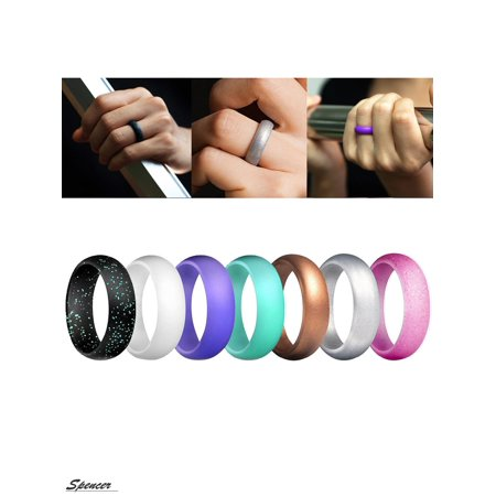 Sports Ring - Spencer 7 Pack Silicone Rings Singles Wedding Rubber Bands for Women Fit for Sports& Outdoors(Size 5,7Colors)