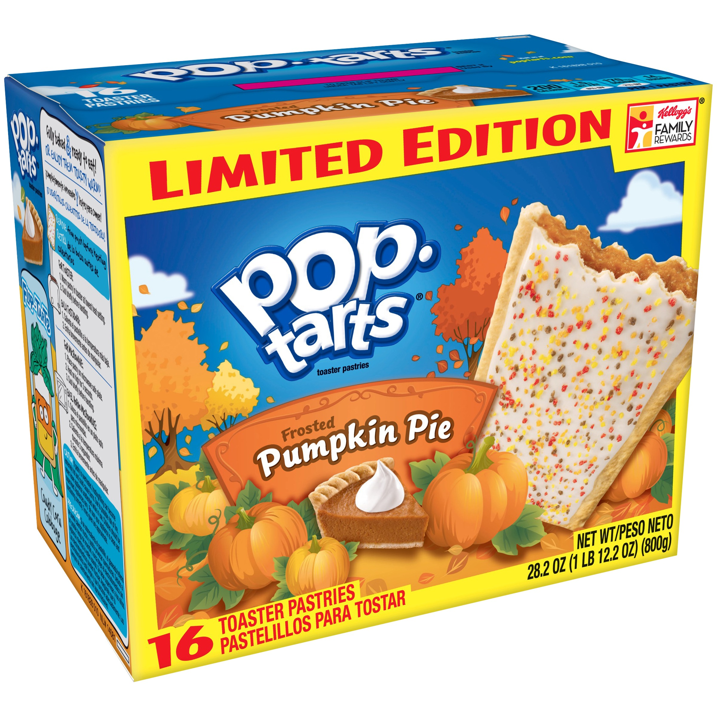 Kellogg's Pop Tarts Frosted Pumpkin Pie Toaster Pastries Limited Edition, 16 count, 28.2 oz