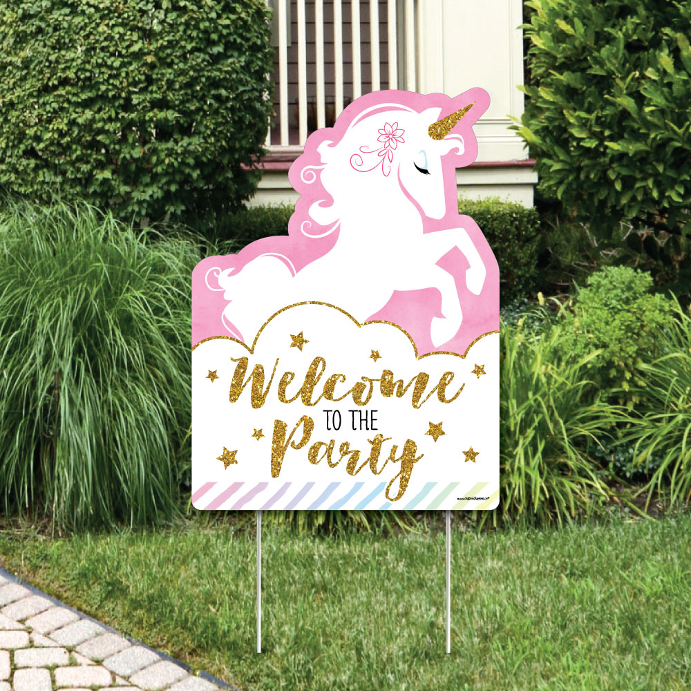 Rainbow Unicorn - Party Decorations - Magical Unicorn Baby Shower or Birthday Party Welcome Yard Sign