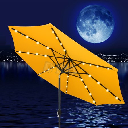 Vidagoods 9 Ft Solar Led Aluminium Patio Umbrella Light