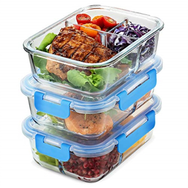 Glass Meal Prep Containers With Lids Food Storage Boxes 2 Compartment 3 Pack New