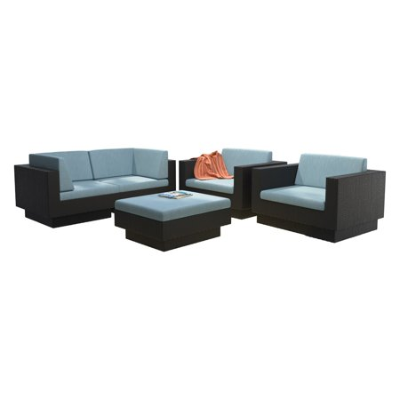 CorLiving 5pc Textured Black Weave Sofa Patio Set with Teal Cushions