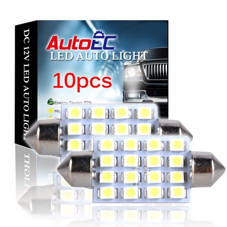 AutoEC 42mm 16 SMD LED White Car Dome Festoon Interior Light Bulb Led auto lamp- Pack of 10