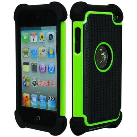Bastex Hybrid Armor Case for Apple Ipod Touch 4, 4th Generation - Green & Black (Pig Ipod 4 Case)