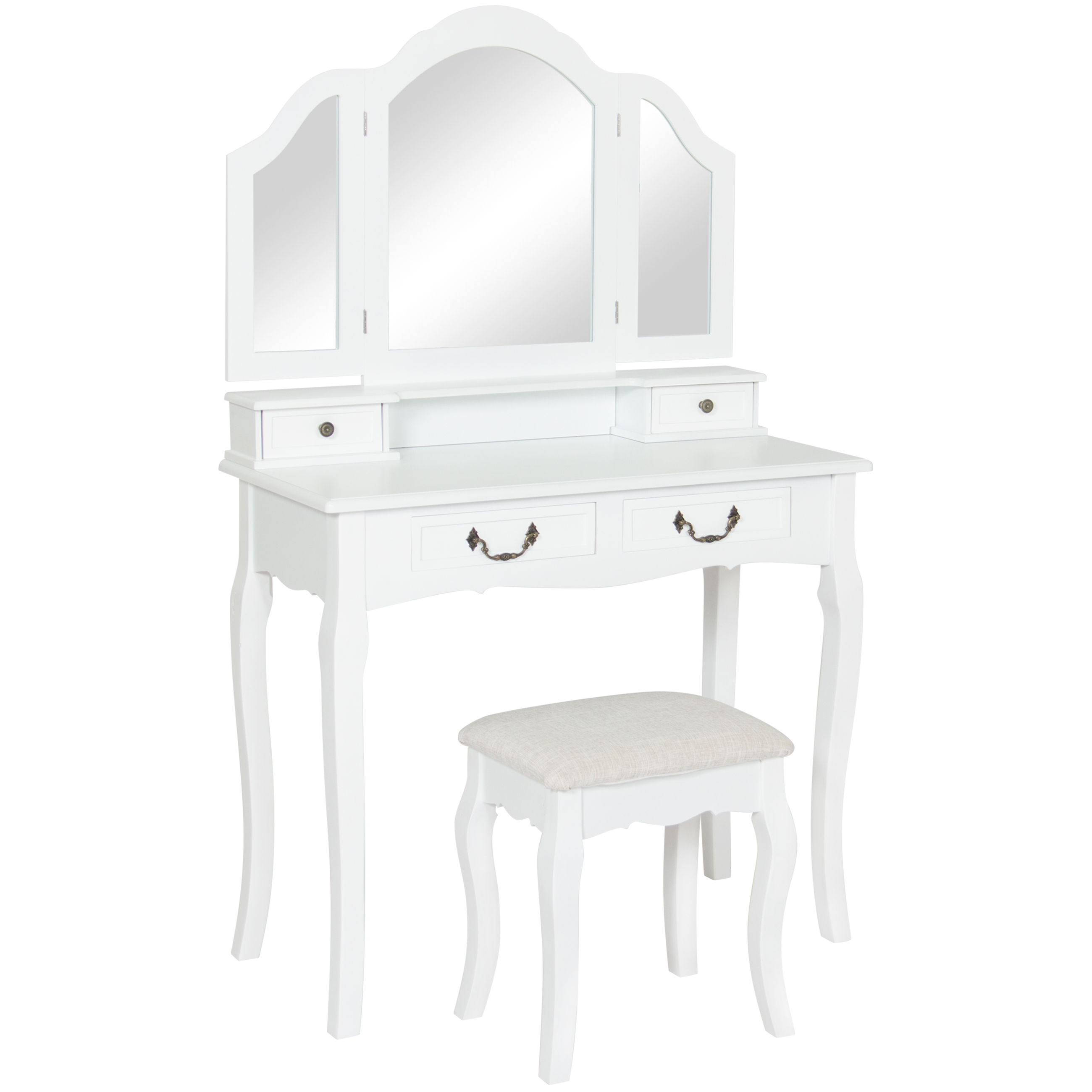 Best Choice Products Bathroom Tri-Mirror Vanity Table Set W  Stool Hair Dressing Organizer- White by