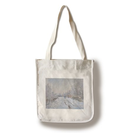 Monet Snow at Argenteuil - Masterpiece Classic - Artist: Claude Monet c. 1875 (100% Cotton Tote Bag - Reusable)