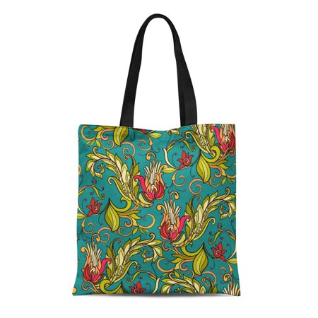 POGLIP Canvas Tote Bag Morris Floral in Middle Ages William Pattern Abstract Antique Reusable Shoulder Grocery Shopping Bags Handbag - image 1 of 1