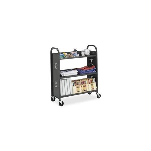 Bretford Manufacturing Inc Bretford Manufacturing Inc 3-Slant Shelf Cart, 27 inchx14 inchx43 inch, Anthracite