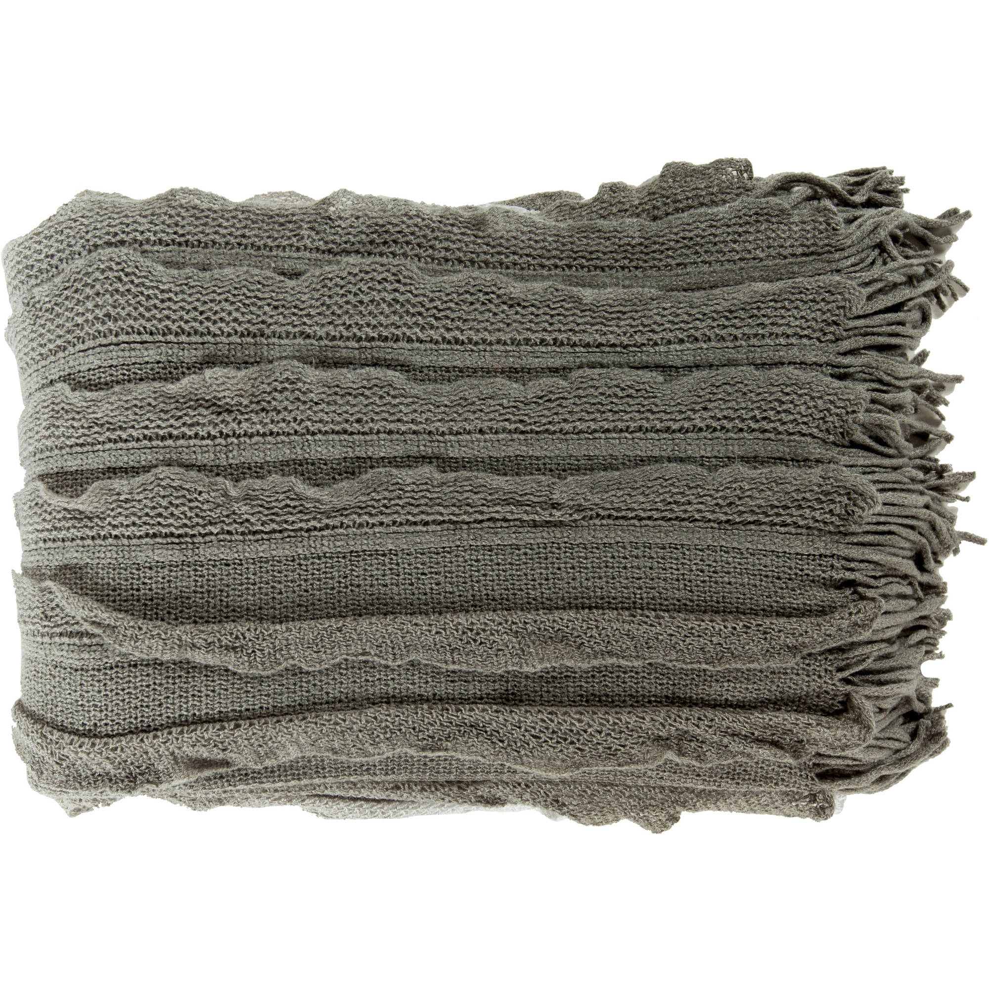 Libby Langdon Ombre Panel Hand Crafted Decorative Throw, Ash