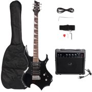 """Glarry 37"""" Electronic Guitar Bundle with Amp+Strap+Plectrum, Crank+Connecting Wire+Spanner Tool & Beginner Starter Package, Black"""