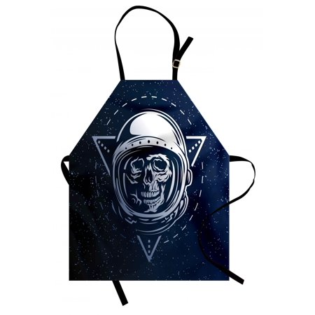 Outer Space Apron Dead Skull Head Icon Cosmonaut Costume Astronomy Terrestrial Horror Scare Image, Unisex Kitchen Bib Apron with Adjustable Neck for Cooking Baking Gardening, Grey Blue, by Ambesonne (Outer Space Costumes)
