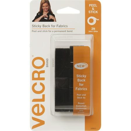 "VELCRO Brand Sticky Back For Fabric 3/4"" Black Tape, 24"""