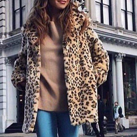 Winter Women Faux Fur Longline Coat Leopard Print Notched Collar Long Sleeve Jacket Parka