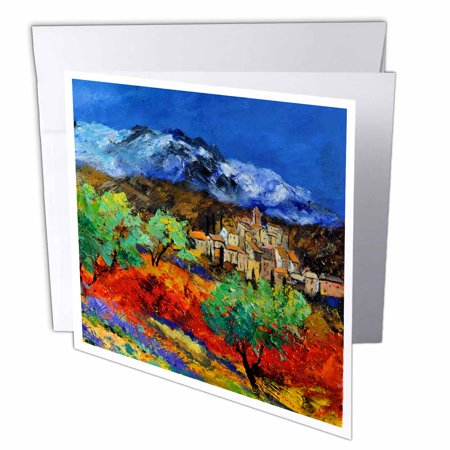 3dRose Provence landscape olive trees and poppies , Greeting Cards, 6 x 6 inches, set of 12