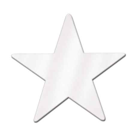 Club Pack of 24 White Metallic Foil Star Cutout Party Decorations 15
