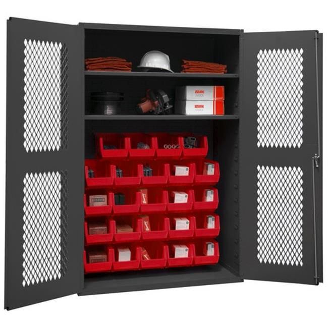 14 Gauge Flush Door Style Lockable Shelf Clearview Cabinet with 24 Red Hook on Bins & 2 Adjustable Shelves, Gray - 48 in.