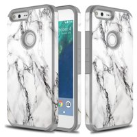 Google Pixel Case, Hard Impact Dual Layer Shockproof Bumper Case - Marble