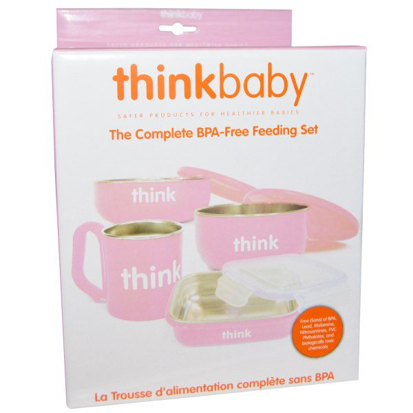 Think, Thinkbaby, The Complete BPA-Free Feeding Set, Pink, 1 Set(pack of 3) by Think