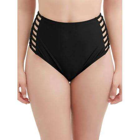 Plaid Womens Swimsuit Bottoms - Women's Rosey Romance High Waist Swimsuit Bottom