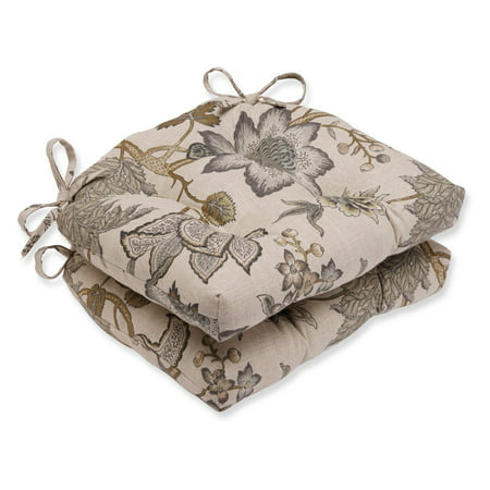 Pillow Perfect Jacobean Flair Vermeil 16 x 15.5 in. Reversible Chair Pad - Set of 2