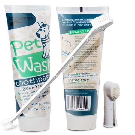 14 oz. Pet Dog Enzymatic Toothpaste Dental Care Kit with Dual Toothbrush for Oral Hygiene - Fights Plaque Freshens Breath - Cleans and Restores - Pack of 2 - Beef Flavor by Paws & Pals