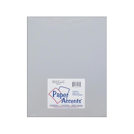 Cardstock Glossy 8.5x11 12pt Silver 5pc