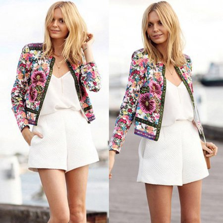 EFINNY Women Long Sleeve Floral Printed Casual Patch Coat ()