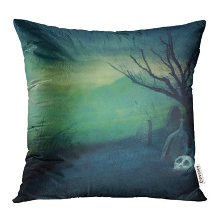 Halloween Naked Pics (USART Halloween Design with Spooky Graveyard Naked Tree and Graves with Copyspace Pillow Case Pillow Cover 20x20 inch Throw Pillow)