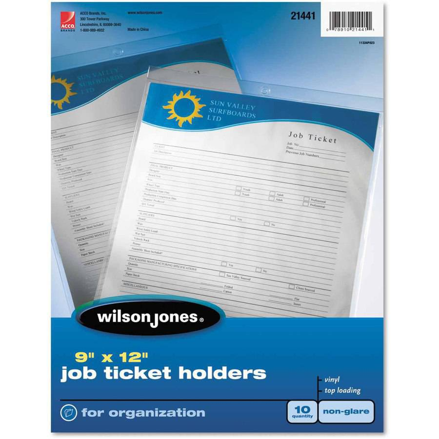 Wilson Jones Job Ticket Holder, Non-Glare Finish, Clear Front/Frosted Back, 10-Pack