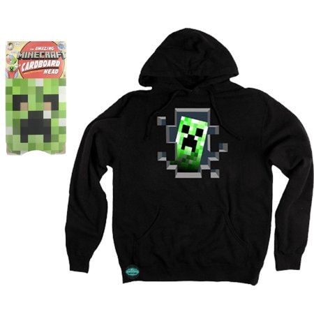 Maven Gifts: Minecraft Creeper Head Green Cardboard Mask and Creeper Inside Hoodie Black - Cardboard Creeper Head