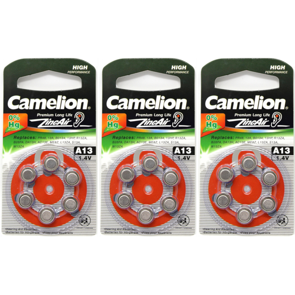 3 Pack Camelion A13 1.4V 280mAh Zinc Air Hearing Aid Batteries 6 Count Each