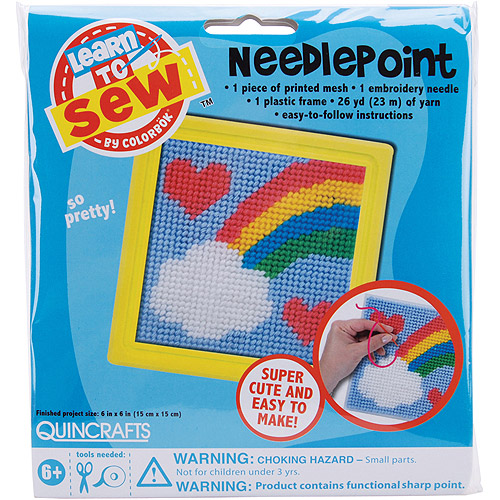 Quincrafts Learn to Sew Needlepoint Kit, Rainbow
