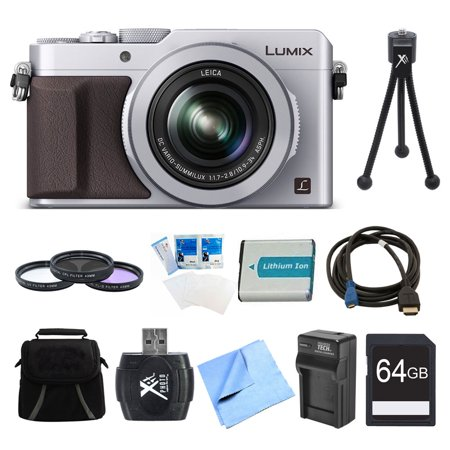 Panasonic Lumix Lx100 Integrated Leica Dc Lens Silver Camera 64Gb Filter Kit Bundle   Includes Camera  64Gb Card  Bag  Filter Kit  Battery  Card Reader  Battery Charger  Hdmi To Micro Hdmi Av Cable
