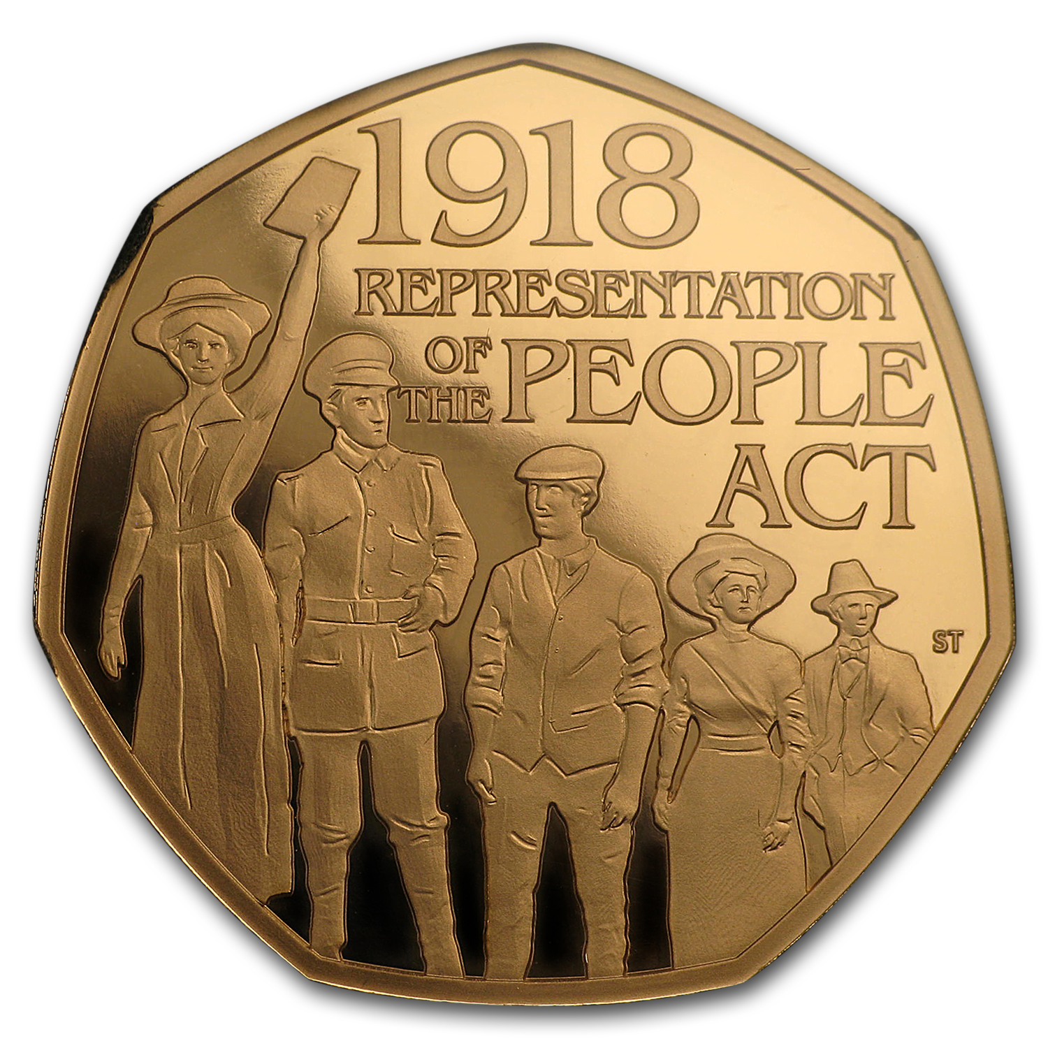 2018 Great Britain 50p Proof Gold Representation of the People