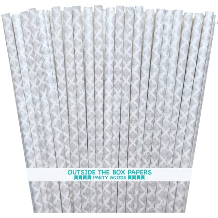 Silver and White Damask Paper Straws   100 Pack - White Straws