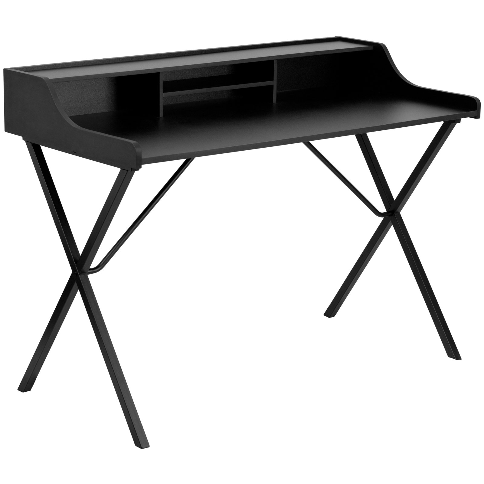 Flash Furniture Writing Desk with Top Shelf, Black