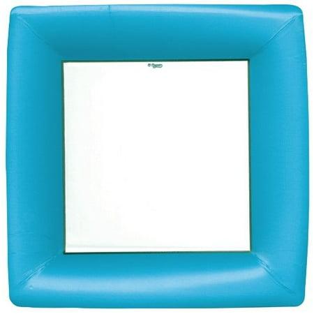 Paper Plates Grosgrain Turquoise Border Square Dinner Plates