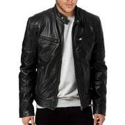 Men PU Leather Jacket BLACK & BROWN Slim Fit Biker Jacket Fashion Solid Coat