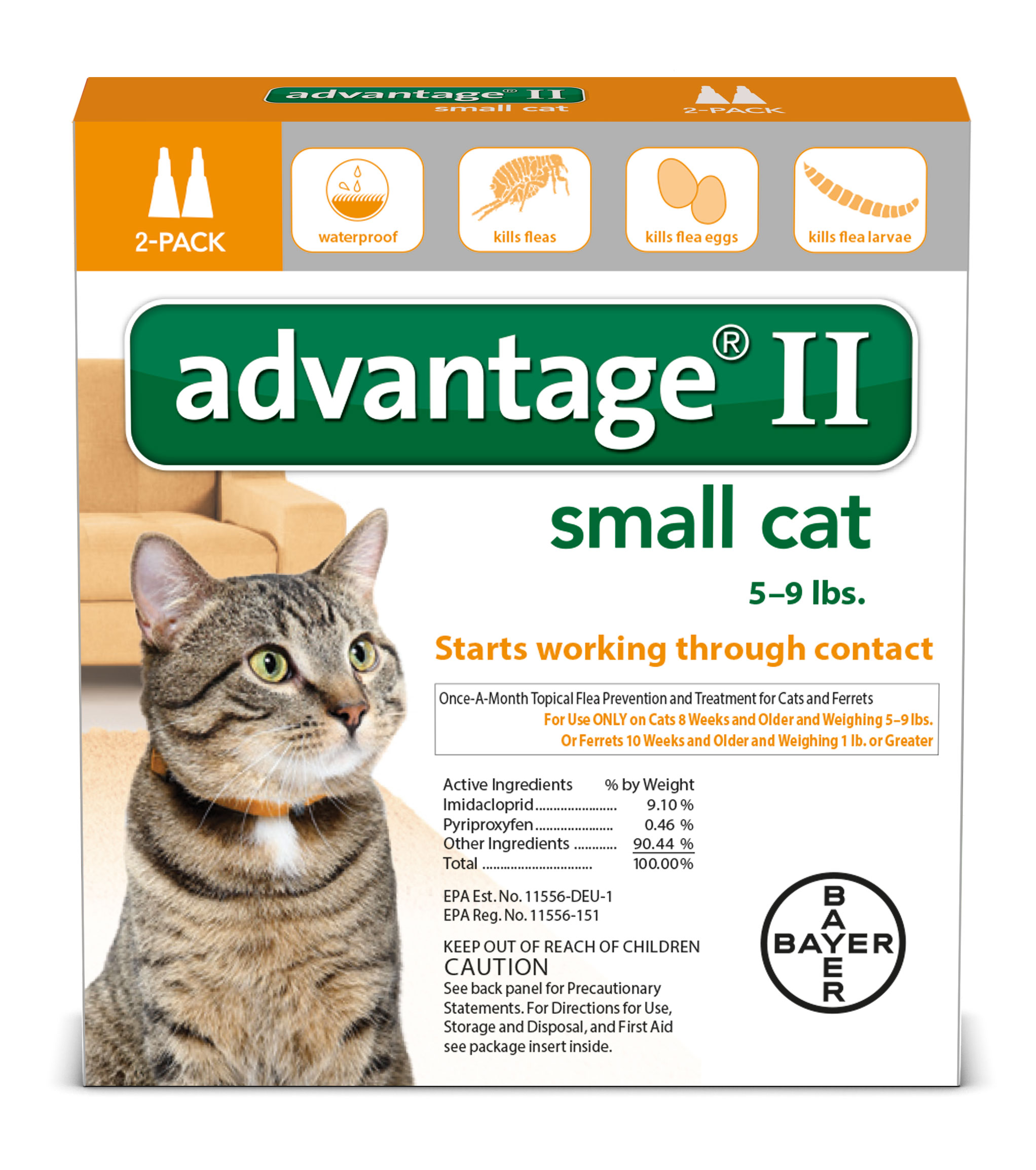 Advantage II Topical Flea Monthly Treatment for Small Cats, 2 Monthly Treatments by Bayer
