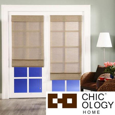 Chicology Roman Shade Jute Fabric Privacy Nevada Timberwolf Grey 48 Inch X 72