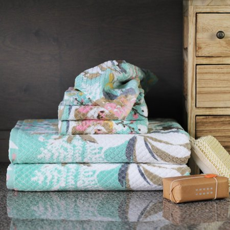 Peach & Oak, (6) Piece Bath Towel Set - Sara Print - (2) Bath Towels, (2) Hand Towels, (2) Washcloths - 100%