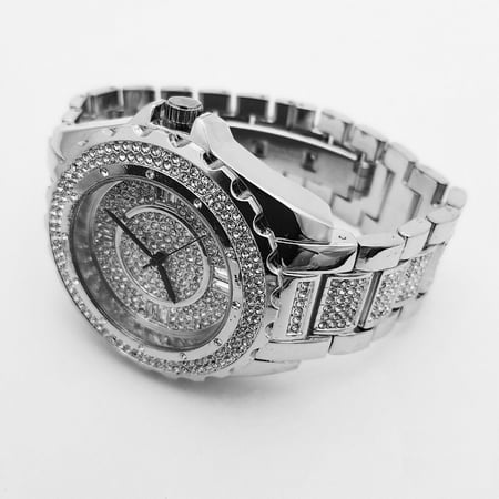 MEN ICED OUT HIP HOP PLATINUM TONE RAPPERS LAB DIAMONDS BLING WATCH