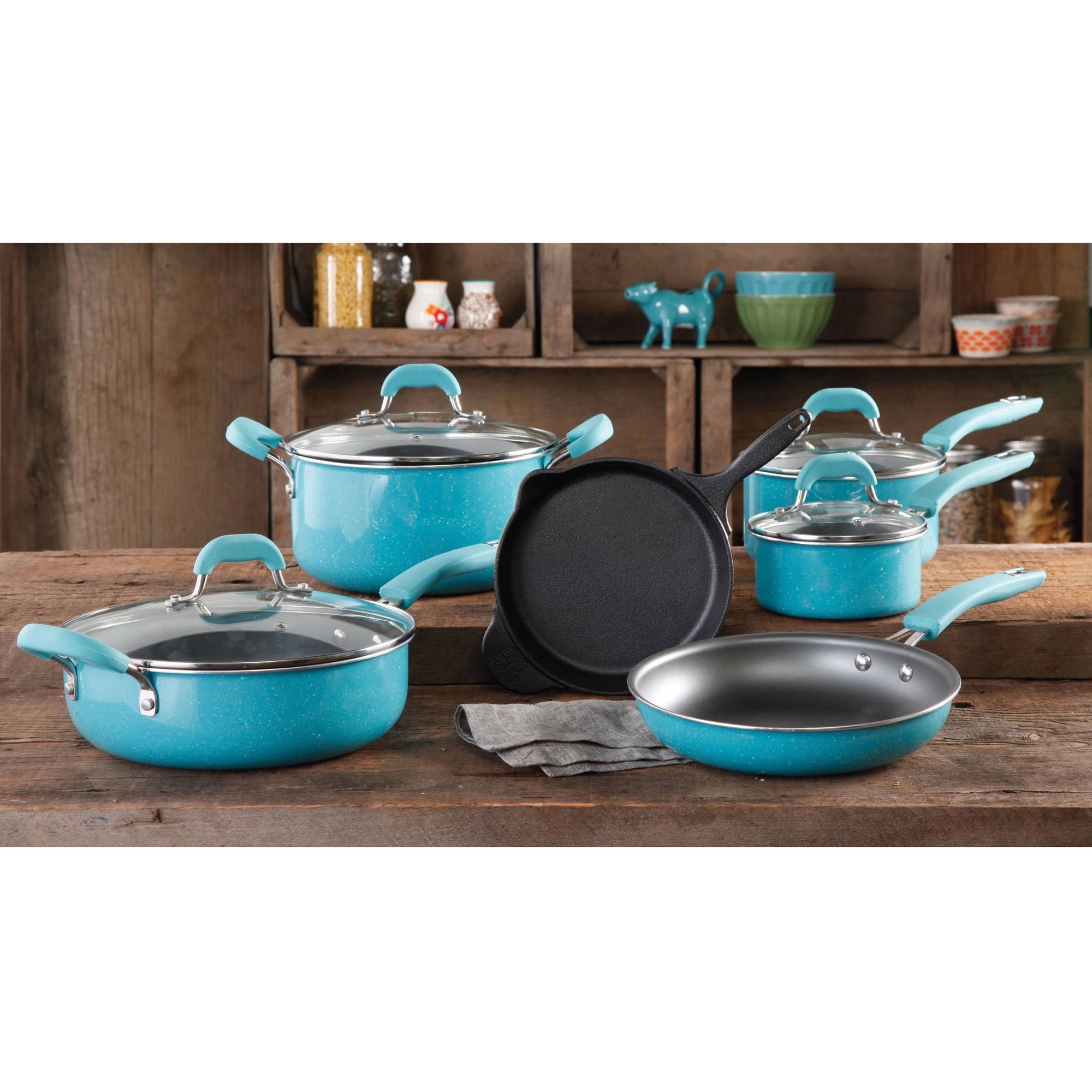 pioneer lady dishes. the pioneer woman vintage speckle 10-piece non-stick pre-seasoned cookware set lady dishes
