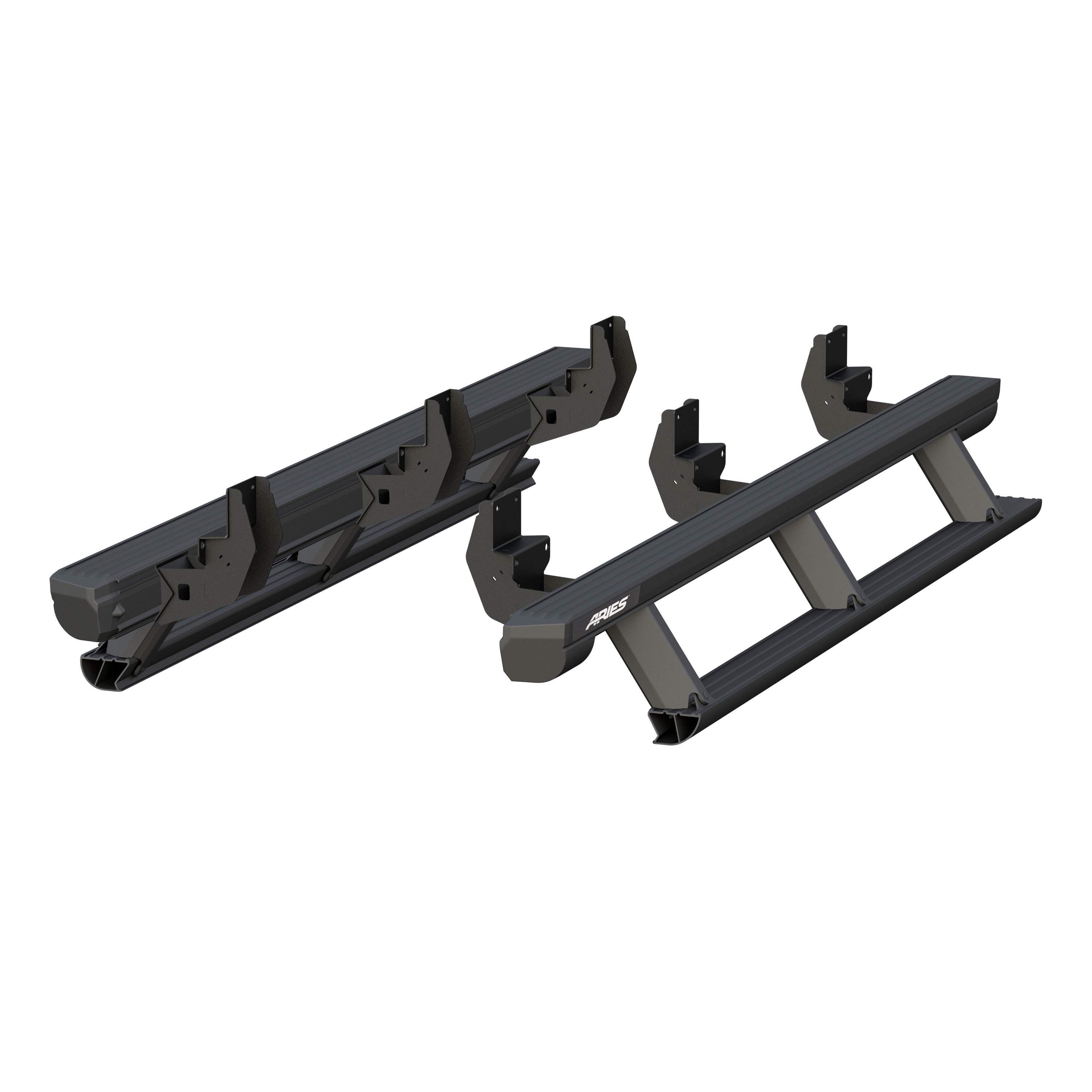 Aries Automotive 3048321 Actiontrac Powered Running Boards With Automated Patented Step-Within-A-Step - Black Powder-Coated Aluminum (1 Pair W/ Brackets)