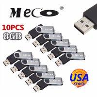 10Pcs 8GB USB 2.0 Flash Drive Memory Stick Fold Storage Thumb Stick Pen Swivel Design Black USA Stock