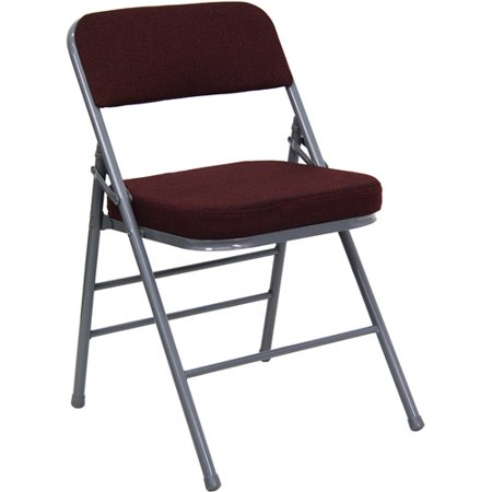 Hercules Hinged Fabric Padded Folding Chair 4 Pack Burgundy